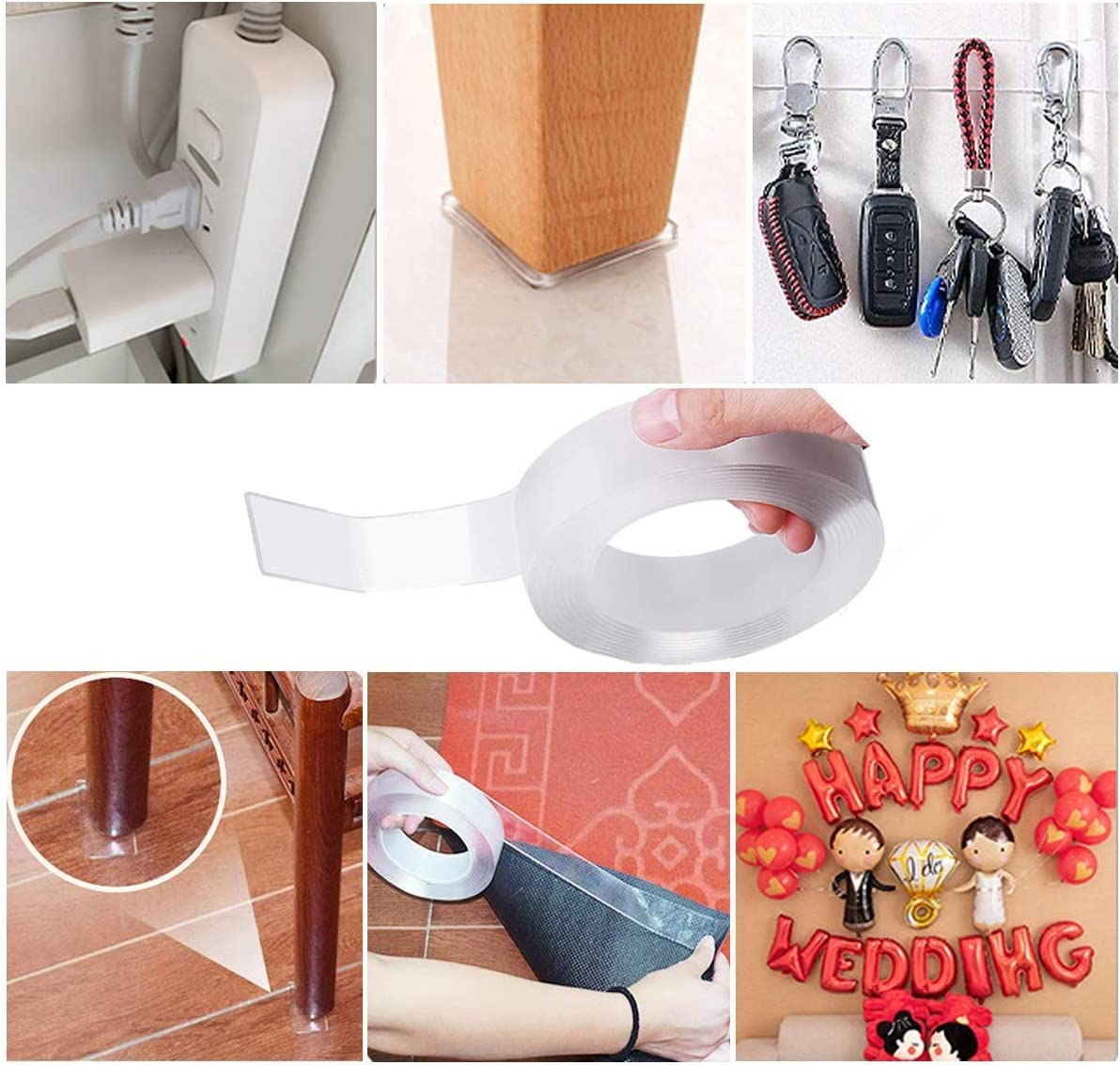 Multifunctional Reusable Nano Adhesive Tape,No-Trace Removable Washable Strong Gel Anti-Slip Adhesive Carpet Rug Tape,Transparent Double Sided Tape 9.8 ft for Wall,Carpet Photos Fixing 3M Kitchen