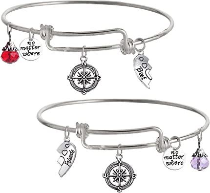 TISDA Best Friends Bracelet,Not Sisters Blood But Sisters Heart Expandable Wire Bangle Bracelets,Sister Jewelry