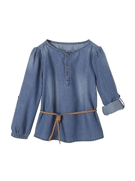 VERTBAUDET Blusa para niña de Denim Ligero Azul Oscuro Lavado 2A