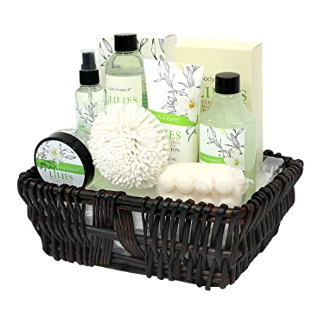 Gift Baskets for Women, Body Earth Spa Gifts for Her, Lily 10pc Set, Best Gift Idea for Women