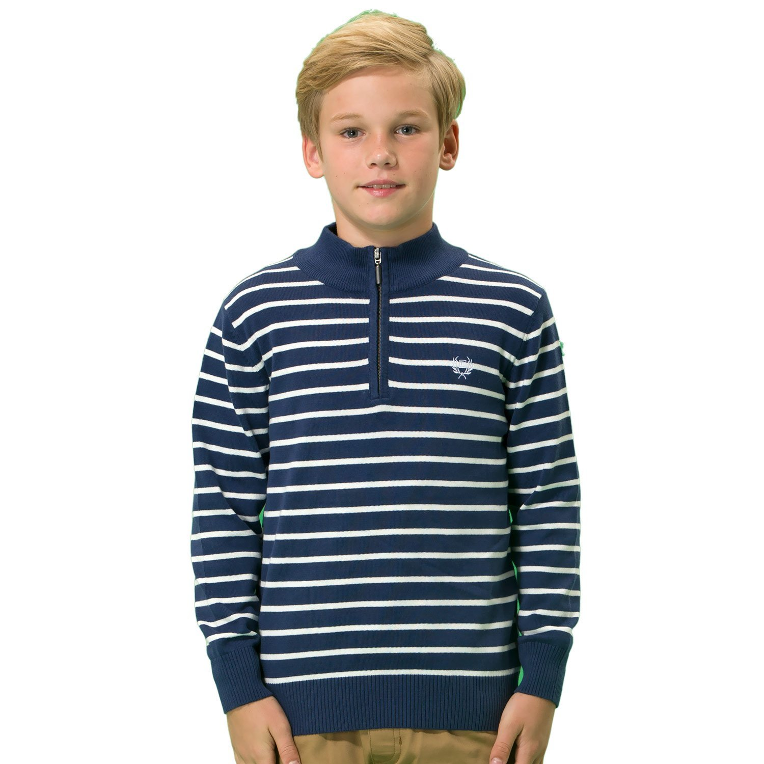Leo& Lily Boys' Wool Blends Casual Pullover Zipper Front Sweater LLB1266 NAVY-10-$P