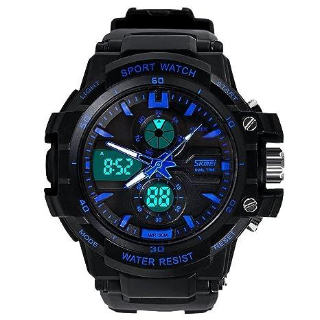 Amazon.com: Relojes de Hombre Sport LED Digital Military Water Resistant Watch Digital Men RE0025: Watches