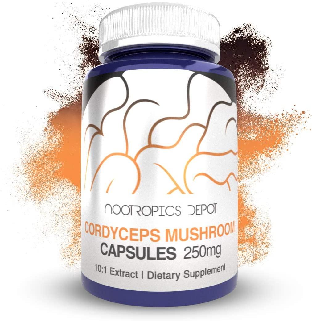 Cordyceps Mushroom Capsules 10 1 Whole Fruiting Body Extract 250mg 180 Count Cordyceps militaris