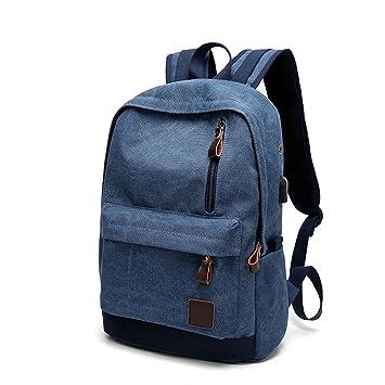 Gracosy Mochila escolar Canvas con puerto de carga USB, mochilas universitarias de 15.9 pulgadas,