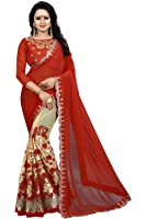 Calendar Georgette Saree With Blouse Piece (_Red_Free Size)
