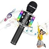 Uplayteck Micrófono Karaoke Bluetooth, Microfono Inalámbrico Karaoke, Micrófono Karaoke Portátil con Altavoz y Luces LED, par