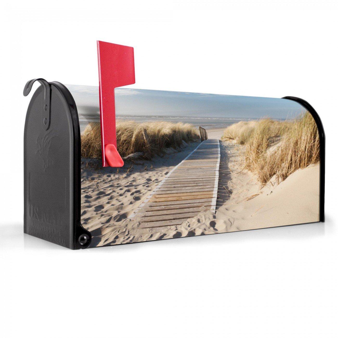 banjado US-Mailbox Briefkasten Amerikanisch Letterbox schwarz Motiv Dünen