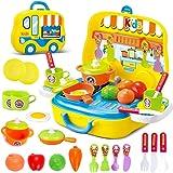 deAO Cucina Giocattolo Playset in Valigetta con Accessori Inclusi (Giallo)