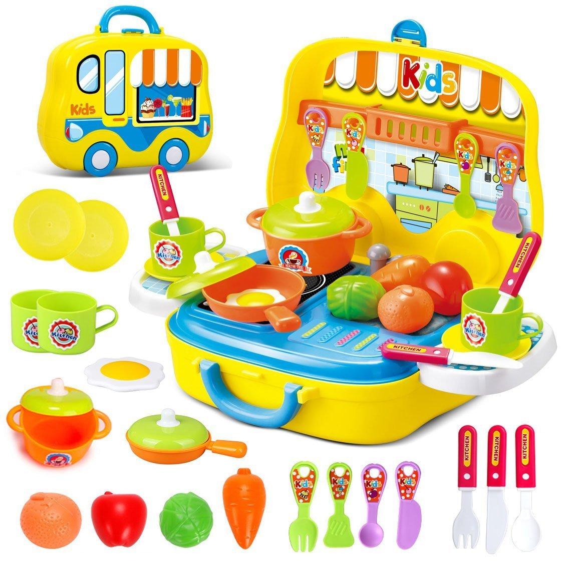 deAO - Cocina de Juego con maletín portátil y Accesorios (Color Amarillo) product image