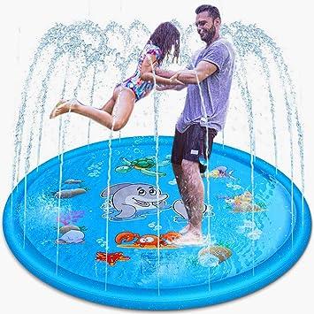 U UZOPI Splash Pad Aspersor de Juego 170CM Piscinas para Ni/ños Tapete de Juegos de Agua Aspersor Juego de Salpicaduras y Salpicaduras Juguetes al Aire Libre Juego de Agua para Jard/ín//Fiesta//Playa