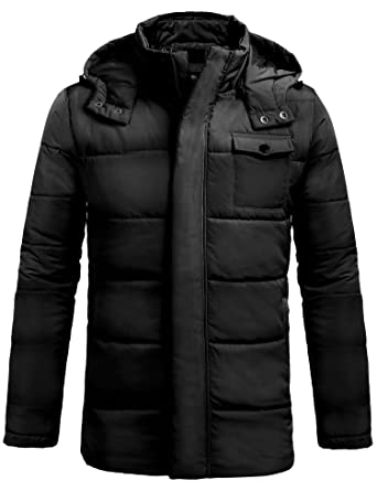 3e556f4bb DAZZILYN Men's Winter Lightweight Thicken Cotton Padded Coat Puffer Jacket  Outwear with Removable Hood