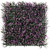 "ULAND Artificial Boxwood Hedges Panels, Plastic Purple Plant Leaves Grass Fence Screen, Outdoor Ivy Wall Home Decoration, Pack of 6pcs 20""x20"""