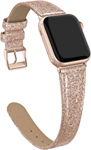 Doasuwish Leather Band Compatible with Apple Watch Bling Bands 38mm 40mm, Soft Slim Luxury Shiny Sparkle Genuine Leather Wristbands Watch Strap Compatible for iWatch Series 6/5/4/3/2/1/SE, Rose Gold