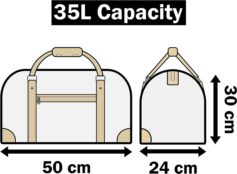 Sacs de weekend Quenchy London QL216M Sac fourre-tout de voyage Kit de gym id/éal pour femme Bagage /à main de cabine Sac de voyage de taille M 35 litres 30 couleurs 50 cm x 30 x 25