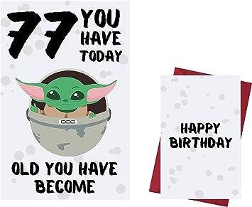 Handmade Personalised Cute Baby Yoda Star Wars Anniversary Card