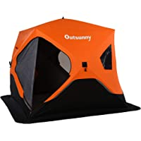 """Outsunny 90.5"""" Pop-up Ice Fishing Shelter Tent for 4 People -40℃ Portable w/Carry Bag Zippered Doors Ground Stakes…"""