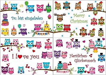 Lustige Eulen Glückwunschkarten Zum Geburtstag, Hochzeitstag, Valentinstag  Und Weihnachten: U0026quot;WITZIGE