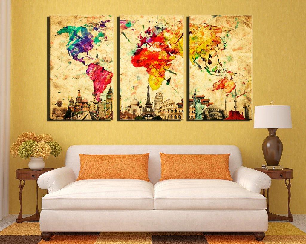 Amazon.com: Damenight 3 Panel Wall Art painting for home decor ...