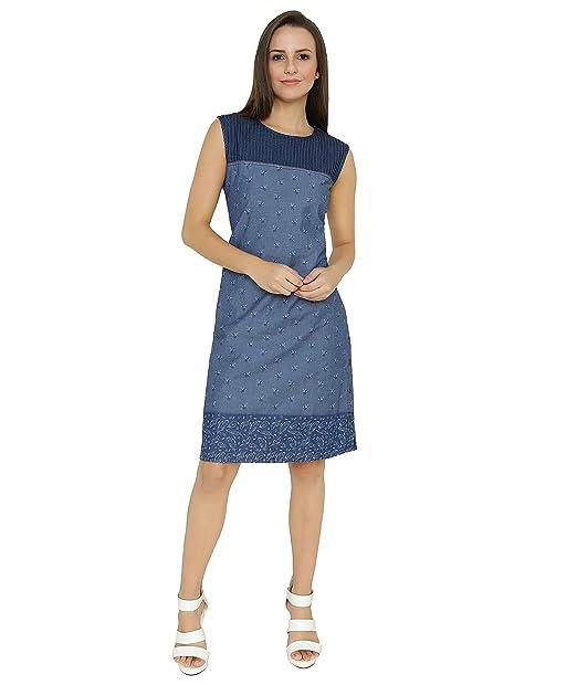 b80d7b793a Shokhi Dress for Women - One Piece Dress for Women Dresses for Ladies - Sleeveless  Denim Dress for Girls - Denim Blue Straight Dress - A-Line Dresses  ...