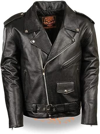 Milwaukee Leather Men's Classic Police Style M/C Jacket - Lkm1781-Black