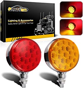 Partsam Round Red/Amber Double Face Led Pedestal Lights with Reflectors 42 LED Waterproof Truck Trailer SUV RV Fender Mount Led Stop Turn Tail and Parking Light, Chrome Die Cast Housing 12V