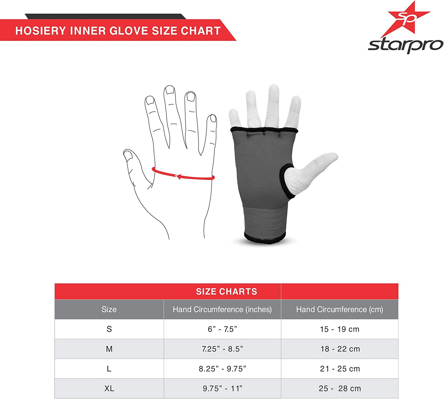Multi Colours Cotton Glove /& Semi bandage Starpro Hook n/' Loop Inner Gloves Fist /& Thumb Protector for Boxing Sparring Muay Thai Kickboxing MMA Martial Arts and Fight Training