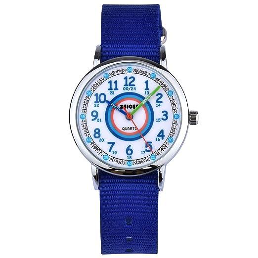 Reloj de Pulsera Nylon Infantil Niño Chica Chico Reloj Niña Educativo Nylon Azul Reloj para niña Reloj para niño Reloj Time Teacher Dial Fácil Lectura ...