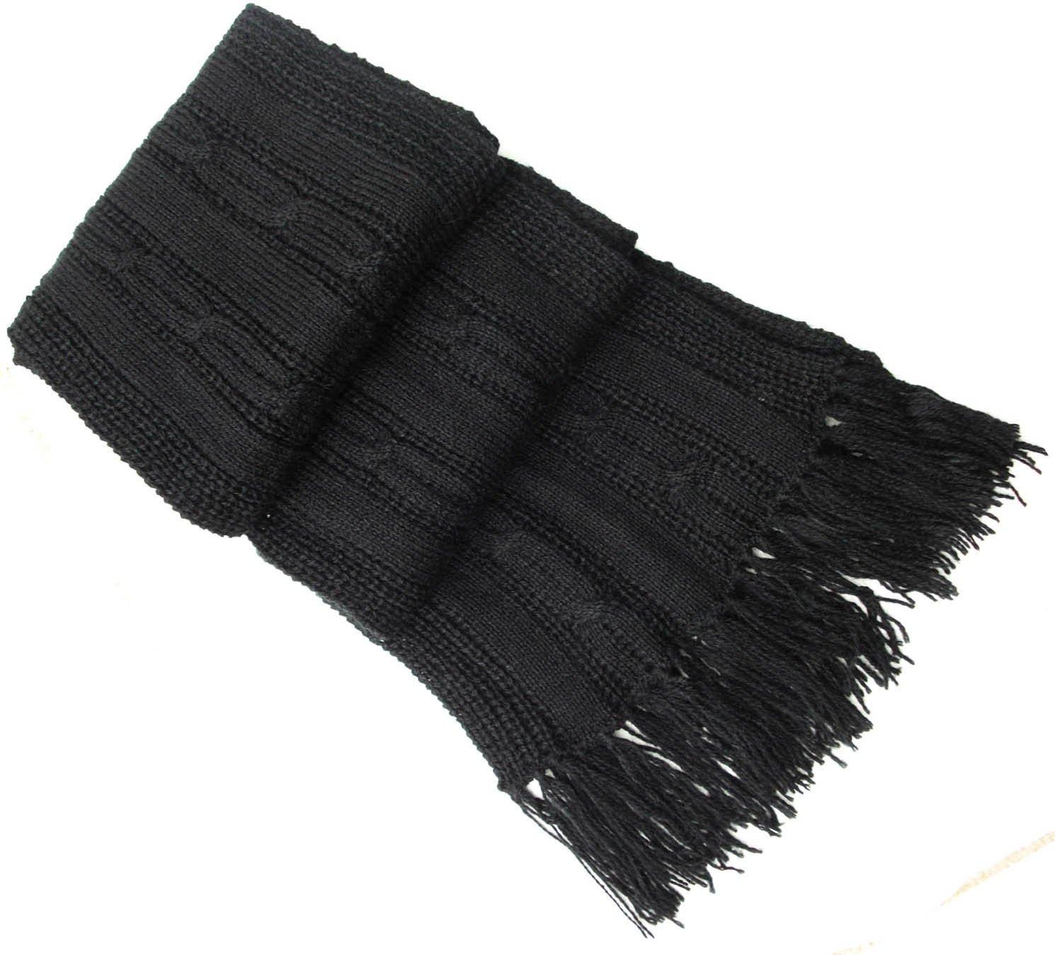 Handmade PURE ALPACA NATURAL FIBER Cable Scarf - Elegant Black