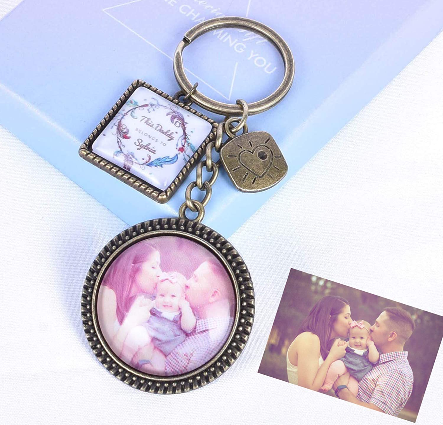 Personalised Double Side Photo Keyring Dad Mum Belongs to Birthday Present Gifts