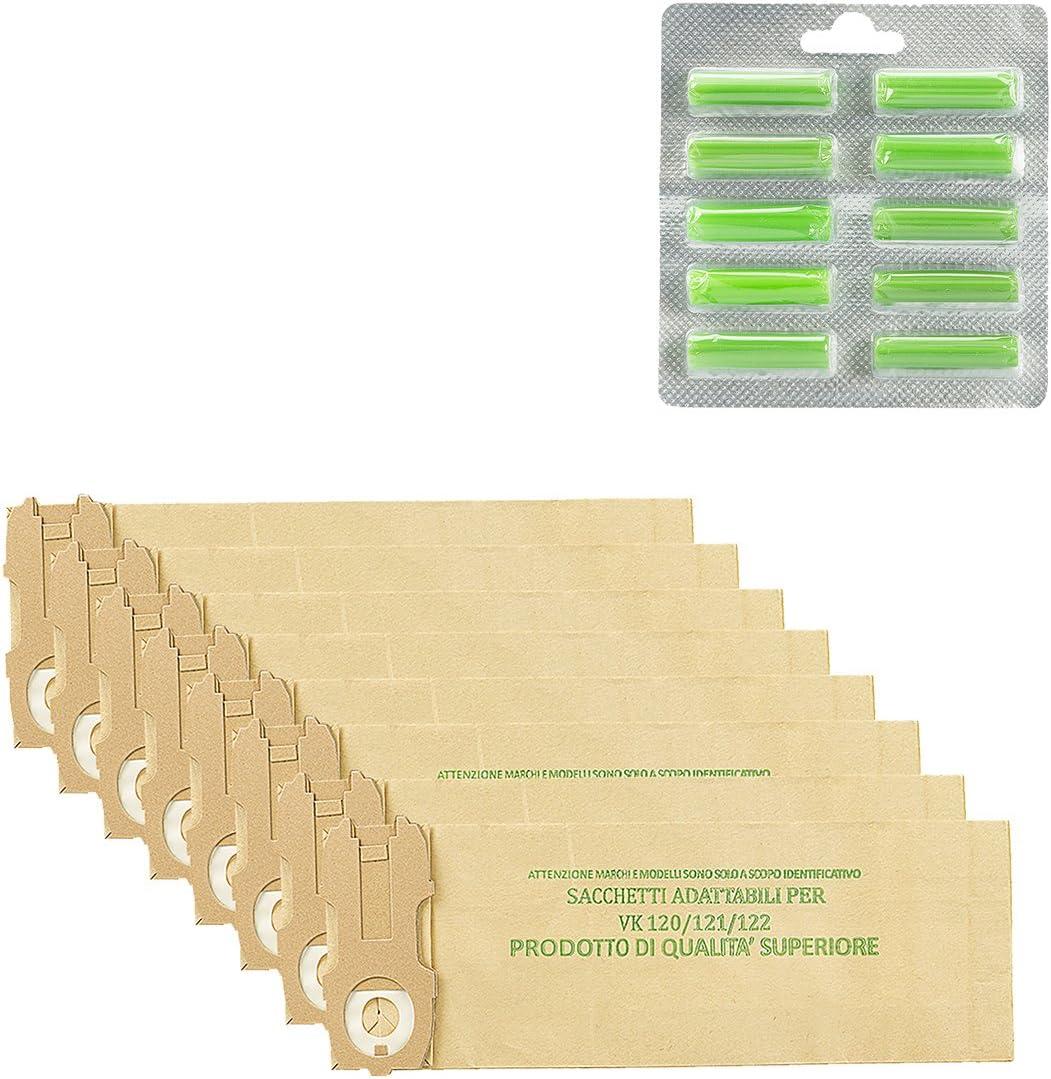 Kit de 24 bolsas + 20 ambientadores adaptables para Folletto VK 120/121/122