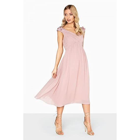 Little Mistress Womens/Ladies Empire Pleated Prom Dress (8 UK) (Rose Pink