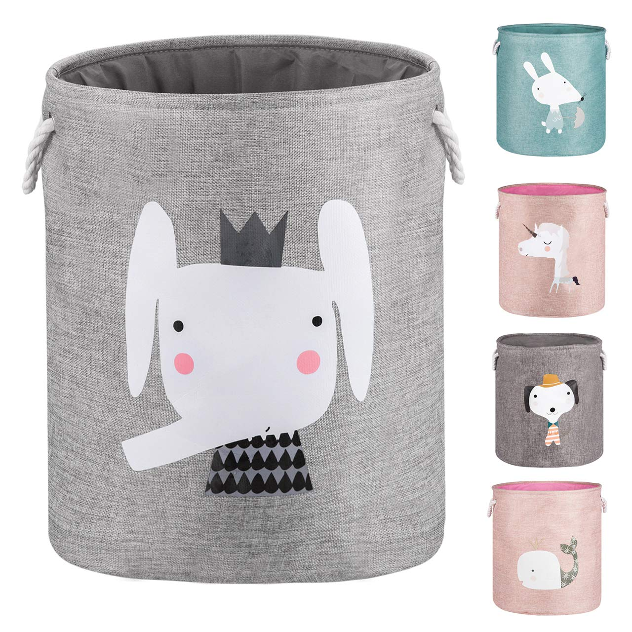"AXHOP 22"" Upgrade Large Collapsible Laundry Basket with Lid, Toy Storage Baskets Bin for Kids, Dog, Toys, Blanket, Clothes, Cute Animal Laundry Hamper (Grey Elephant)"