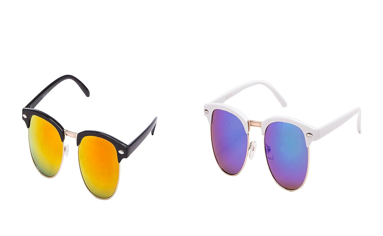 2 er Set EL-Sunprotect Clubmaster Classic Optik Sonnenbrille - UV400 Brille Premium Qualität - schwarz feuer verspiegelt + schwarz Blau verspiegelt m0wTD7ft