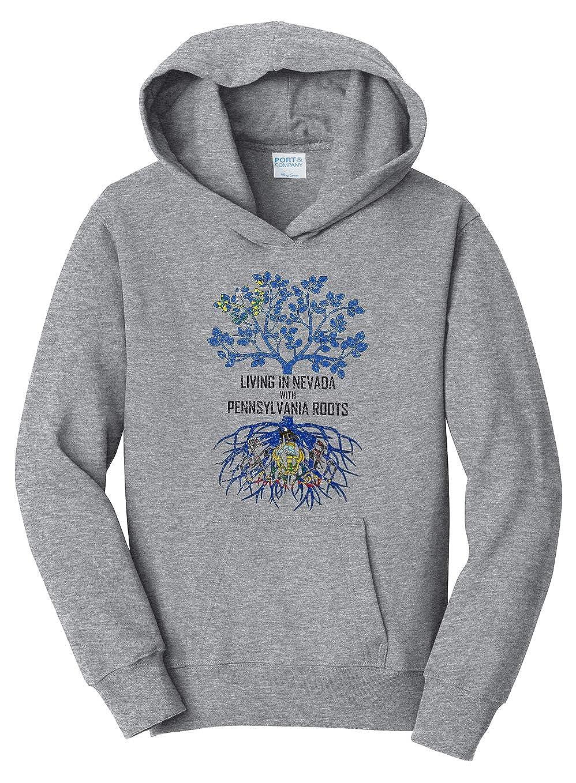 Tenacitee Girls Living in Nevada with Pennsylvania Roots Hooded Sweatshirt