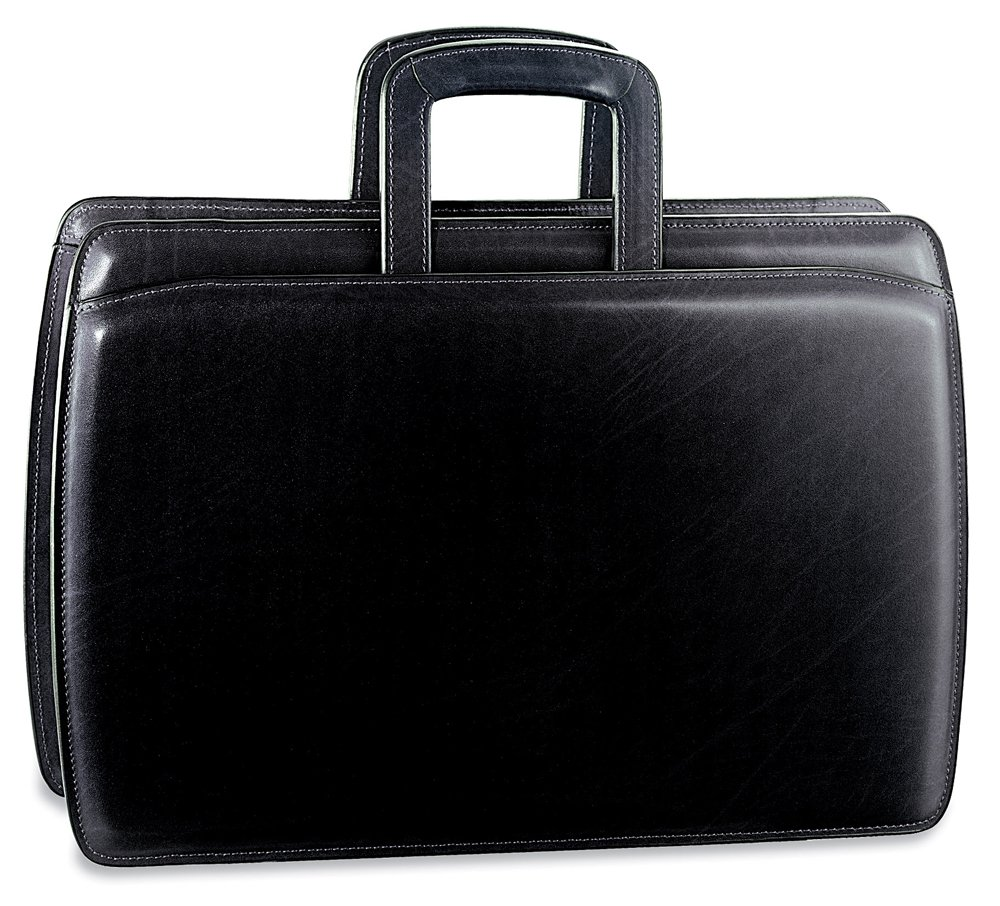 Jack Georges Mens [Personalized Initials Embossing] Elements Slim Leather Briefcase in Black