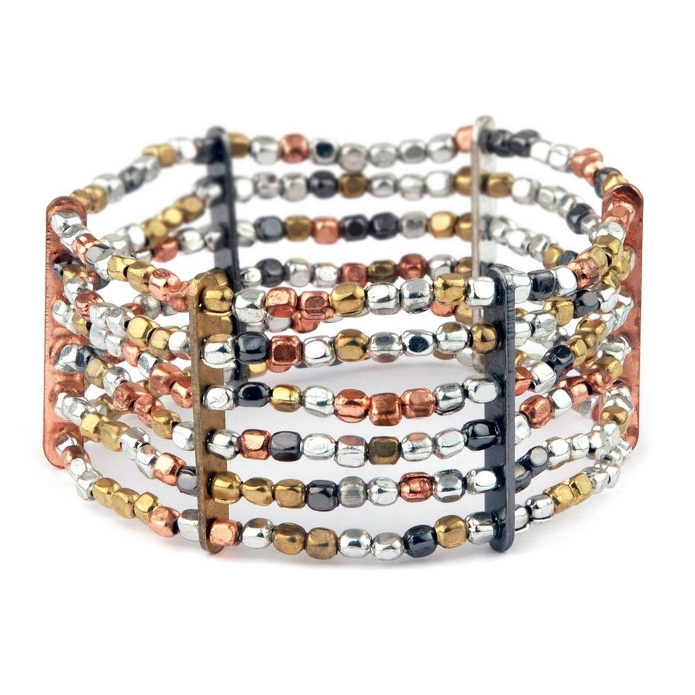 Joe Cool Bracelet 6 Strands of Hand Made Beads Plated Mixed Colours Made with Iron