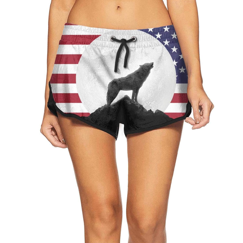 APHSHORTS American Flag Wolf Swim Shorts for Women Print Board Shorts Womens Swimwear Trunks