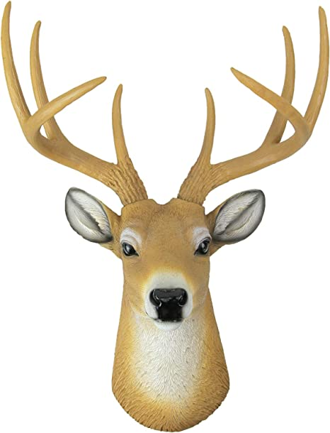 Amazon Com Hd Resin Deer Head Wall Mount 8 Point Faux Taxidermy Buck Hanging Sculpture Antler Decor Art Home Kitchen