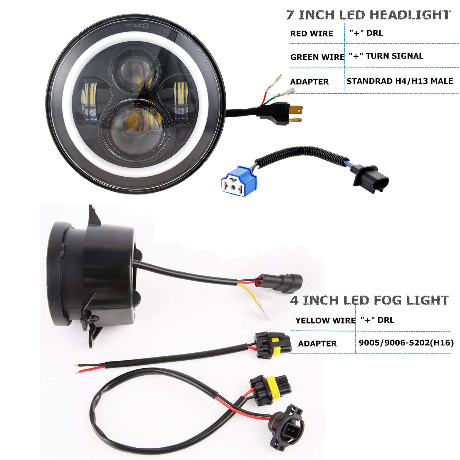 Dot Approved 7inch Jeep LED Headlights with White DRL/Amber