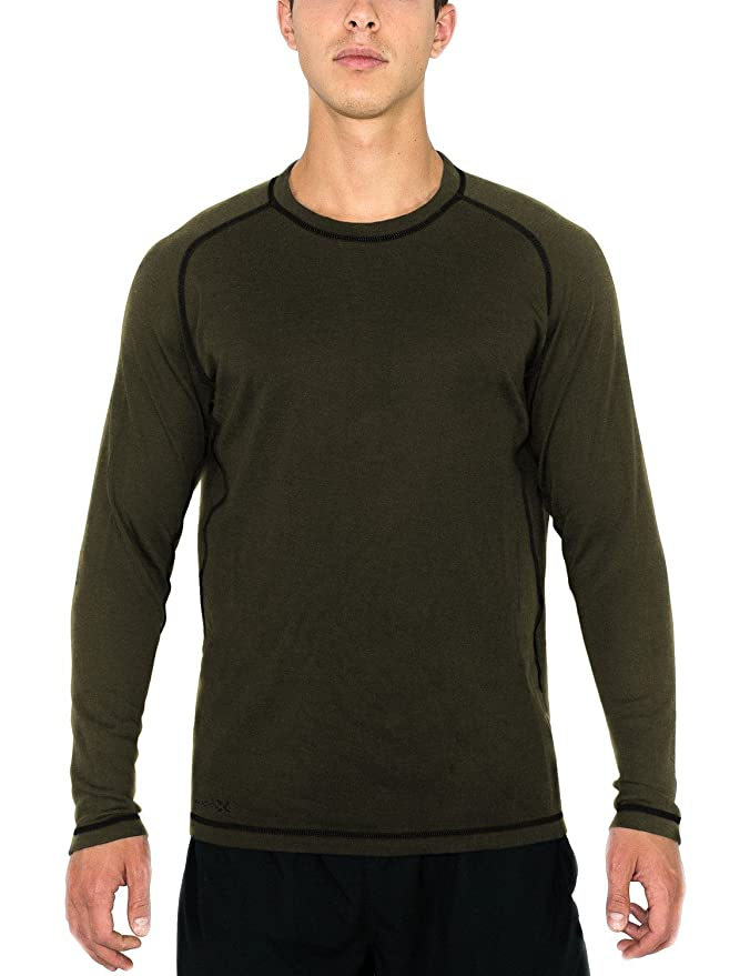 2cfb7d9629fa Amazon.com  Woolx Men s Merino Wool Shirt - Midweight Base Layer Top -  Warmth Without Bulk  Sports   Outdoors