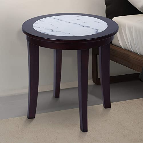 Olee Sleep Natural Marble Top Round Coffee Table/ Tea Table / End Table/ Side Table/ Solid Wood Table/ Office Table/ Computer Table / Vanity Table
