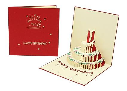 Tarjeta de felicitación de cumpleaños (colorida) 3D con ...