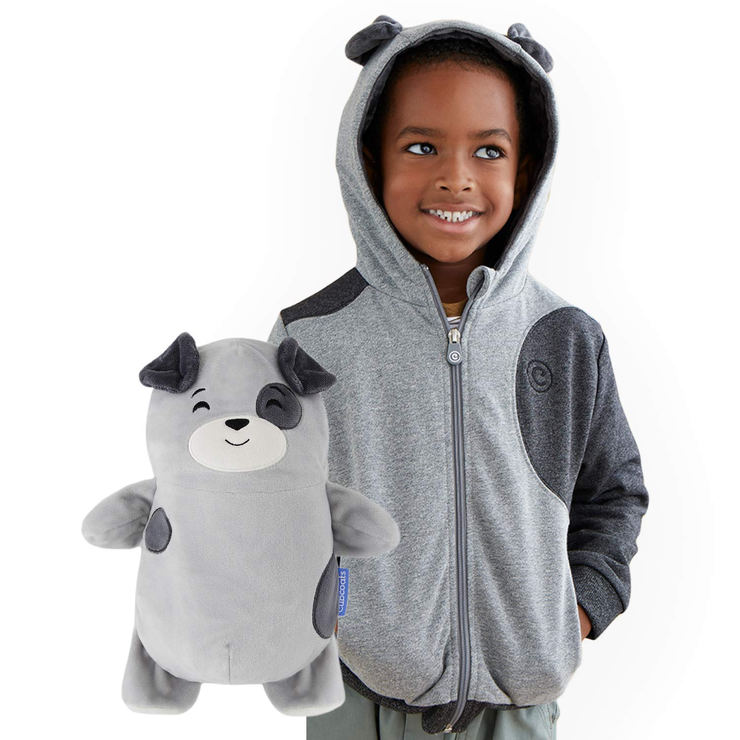 Cubcoats Pimm The Puppy - 2-in-1 Transforming Hoodie & Soft Plushie - Charcoal with Dog Spots