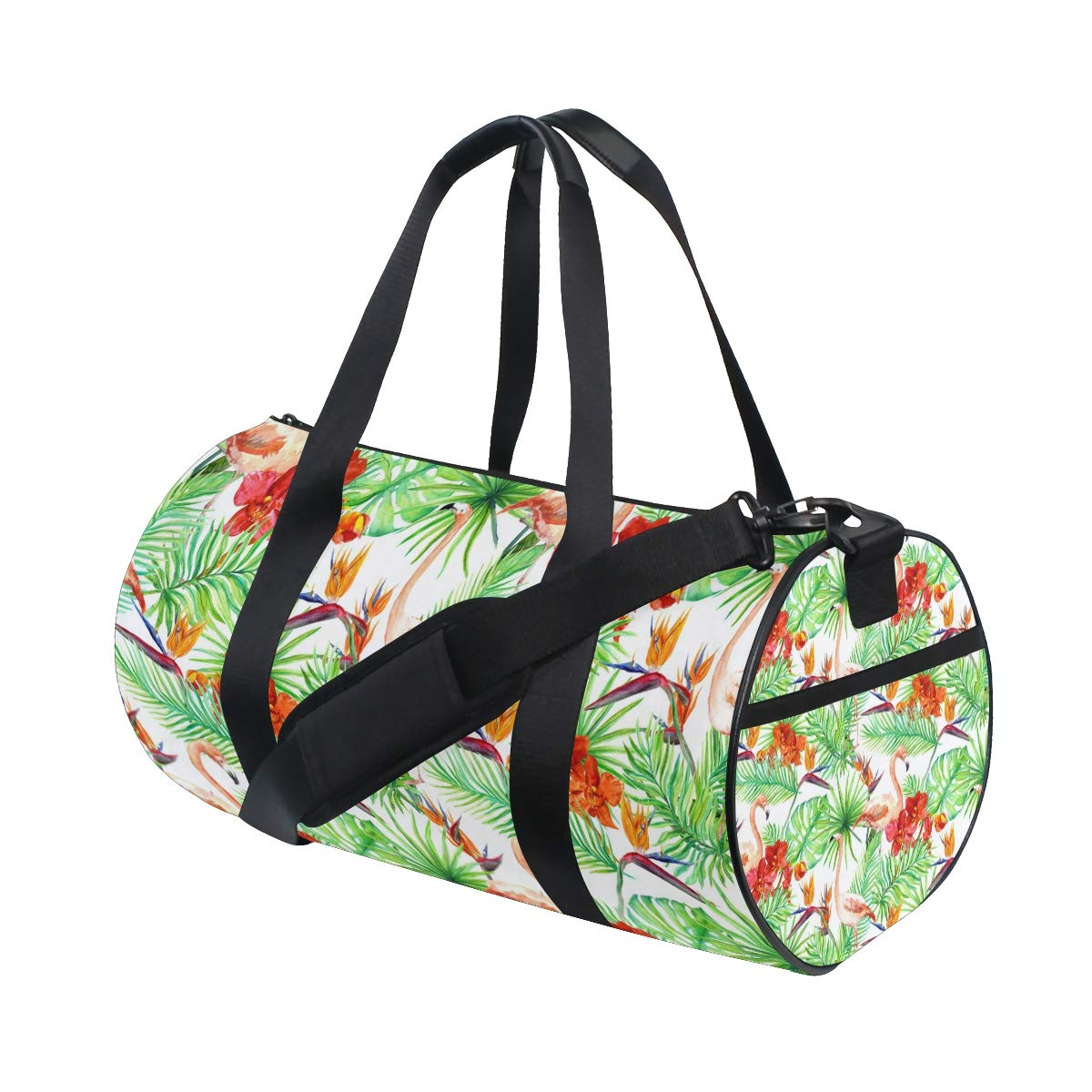 Flamingo Yoga Sports Gym Duffle Bags Tote Sling Travel Bag Patterned Canvas with Pocket and Zipper For Men Women Bag