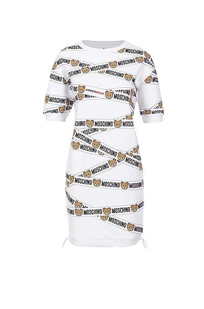 Donna Bianco Dress Girocollo Underwear Bear Moschino Felpa Logo q4w1tt