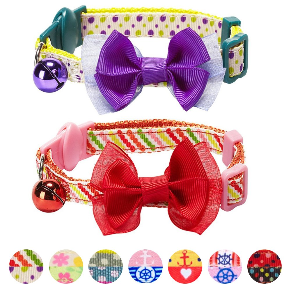 Blueberry Pet Pack of 2 Cat Collars, Clean Dots & Stripes Adjustable Breakaway Cat Collar with Bow Tie & Bell, Neck 9''-13''