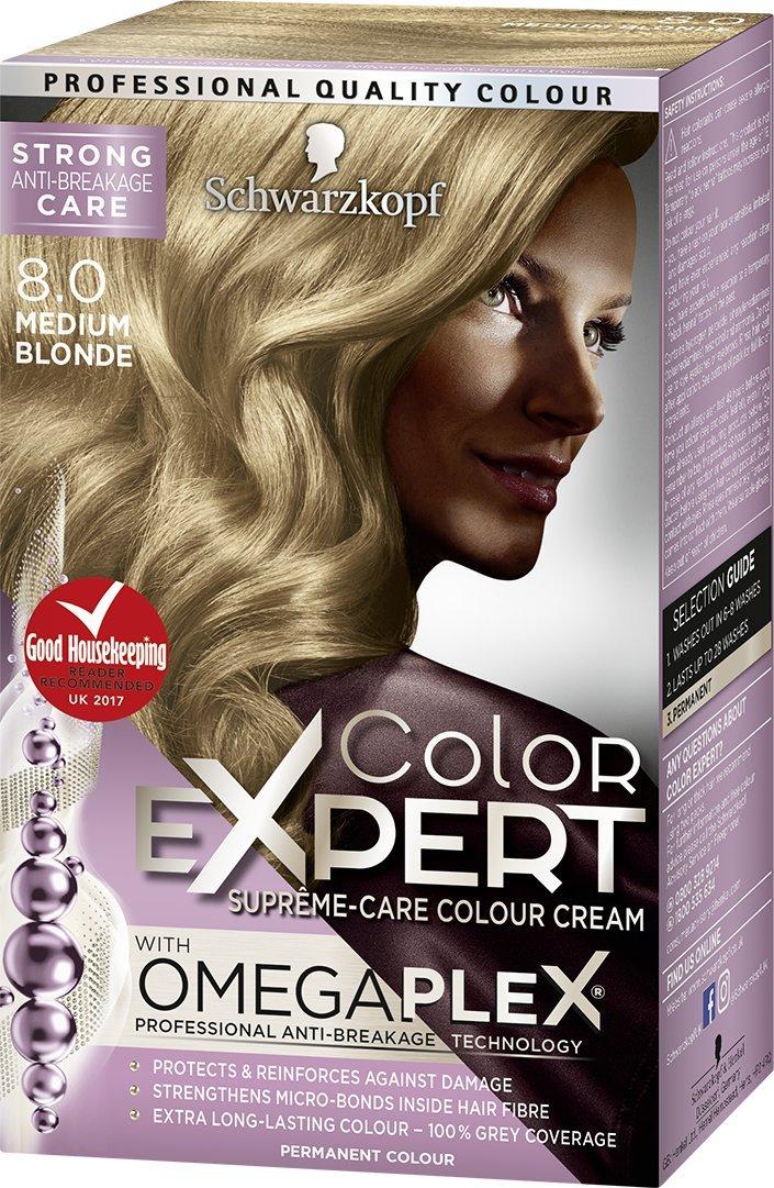 Schwarzkopf Color Expert Omegaplex Hair Dye, 8-0 Medium Blonde Henkel Ltd 5012583205241