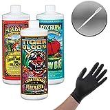 FOXFARM NUTRIENT HYDRO TRIO FORMULA (TIGER BLOOM, GROW BIG HYDRO, BIG BLOOM) + PIPETTE & THCiTY LIGHTNING GLOVES - 1 PT PINT EACH