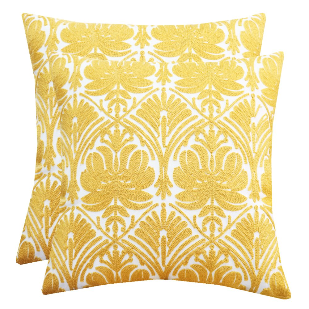 SLOW COW Cotton Embroidery Throw Pillow Covers Yellow Rose Decor Decorative Cushion Covers Soft Accent Pillow Covers 18 x 18 Inches, Set of 2