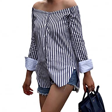 Amazon.com: 2017 Summer Women Striped Shirt Sexy Off the Shoulder Top Cotton Long Sleeve Female Blouse Top Vintage Blue Blusas Ropa Mujer Dark Blue XL ...